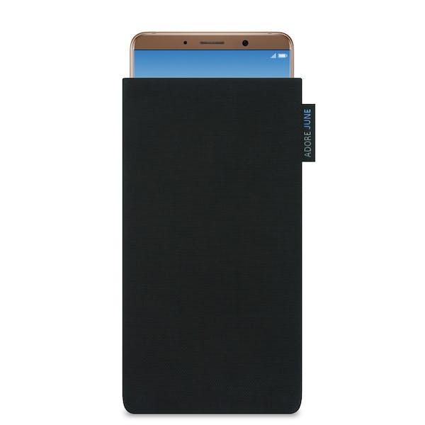 Das Bild zeigt die Vorderseite von Classic Tasche für Huawei Mate 10 Pro in Farbe Schwarz; Zur Veranschaulichung wird ebenfalls dargestellt, wie das kompatible Gerät in dieser Tasche aussieht