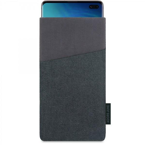 Das Bild zeigt die Vorderseite von Clive Tasche für Samsung Galaxy S10 Plus in Farbe Schwarz / Grau; Zur Veranschaulichung wird ebenfalls dargestellt, wie das kompatible Gerät in dieser Tasche aussieht