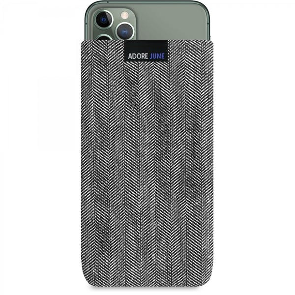 The picture shows the front of Business Sleeve for Apple iPhone 11 Pro Max in color Grey / Black; As an illustration, it also shows what the compatible device looks like in this bag