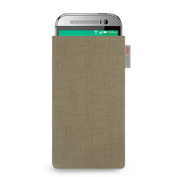 The picture shows the front of Classic Sleeve for HTC One M8 in color Gold; As an illustration, it also shows what the compatible device looks like in this bag
