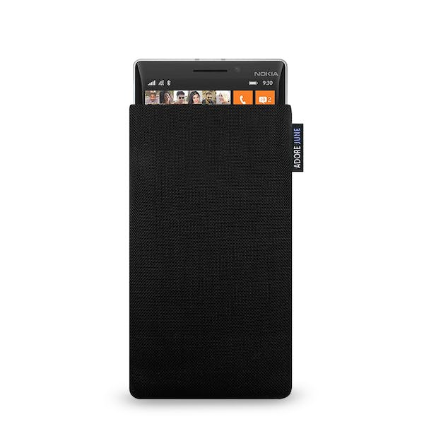 The picture shows the front of Classic Sleeve for Nokia Lumia 930 in color Black; As an illustration, it also shows what the compatible device looks like in this bag
