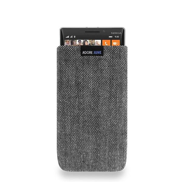 Das Bild zeigt die Vorderseite von Business Tasche für Nokia Lumia 930 in Farbe Grau / Schwarz; Zur Veranschaulichung wird ebenfalls dargestellt, wie das kompatible Gerät in dieser Tasche aussieht