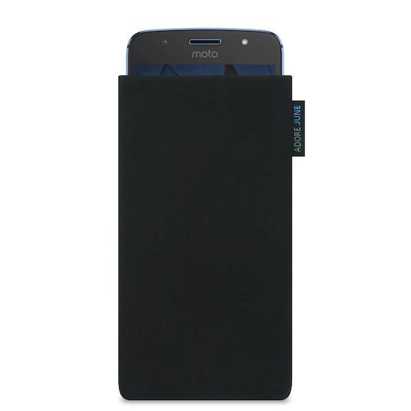 Das Bild zeigt die Vorderseite von Classic Tasche für Motorola Moto G5S in Farbe Schwarz; Zur Veranschaulichung wird ebenfalls dargestellt, wie das kompatible Gerät in dieser Tasche aussieht