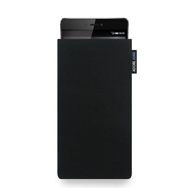 Das Bild zeigt die Vorderseite von Classic Tasche für Huawei P8 in Farbe Schwarz; Zur Veranschaulichung wird ebenfalls dargestellt, wie das kompatible Gerät in dieser Tasche aussieht
