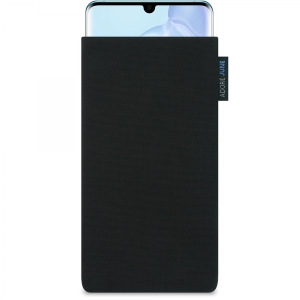 The picture shows the front of Classic Sleeve for Huawei P30 PRO in color Black; As an illustration, it also shows what the compatible device looks like in this bag