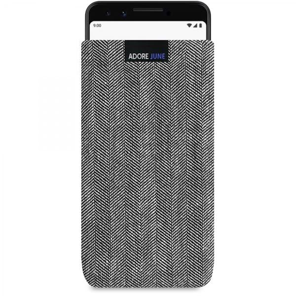 Das Bild zeigt die Vorderseite von Business Tasche für Google Pixel 3 in Farbe Grau / Schwarz; Zur Veranschaulichung wird ebenfalls dargestellt, wie das kompatible Gerät in dieser Tasche aussieht