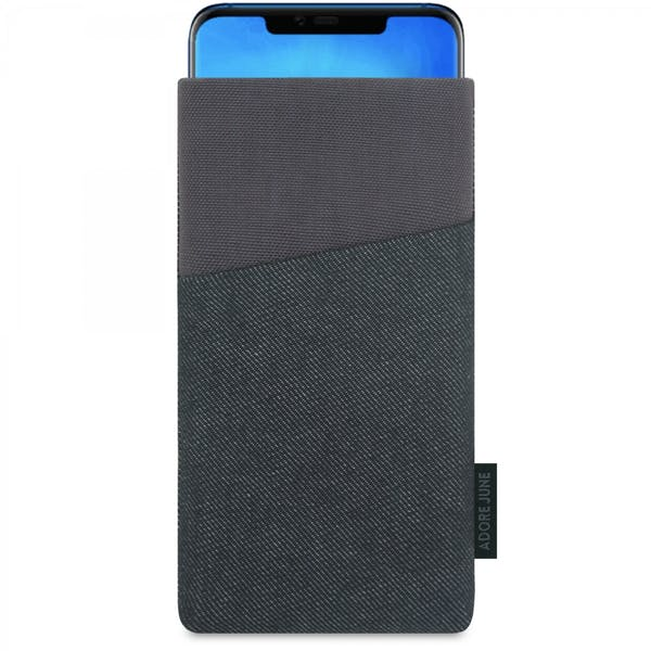 The picture shows the front of Clive Sleeve for Huawei Mate 20 Pro in color Black / Grey; As an illustration, it also shows what the compatible device looks like in this bag