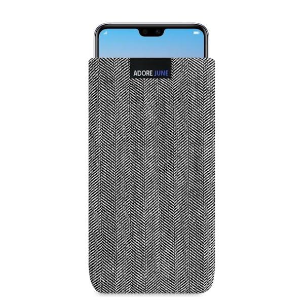 Das Bild zeigt die Vorderseite von Business Tasche für Huawei P20 PRO in Farbe Grau / Schwarz; Zur Veranschaulichung wird ebenfalls dargestellt, wie das kompatible Gerät in dieser Tasche aussieht