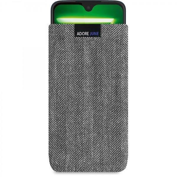 Das Bild zeigt die Vorderseite von Business Tasche für Motorola Moto G7 und Moto G7 Plus in Farbe Grau / Schwarz; Zur Veranschaulichung wird ebenfalls dargestellt, wie das kompatible Gerät in dieser Tasche aussieht