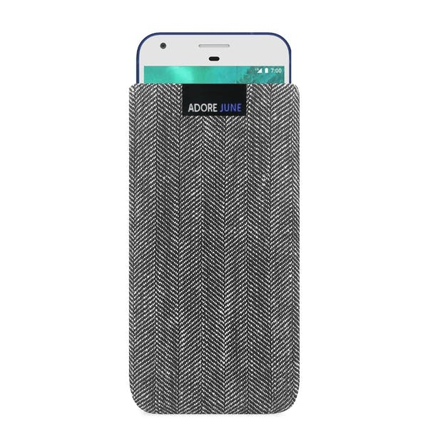 The picture shows the front of Business Sleeve for Google Pixel in color Grey / Black; As an illustration, it also shows what the compatible device looks like in this bag