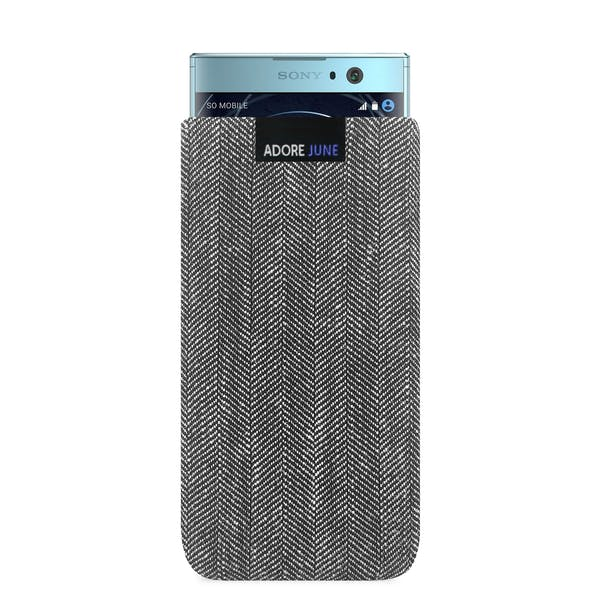 The picture shows the front of Business Sleeve for Sony Xperia XA2 in color Grey / Black; As an illustration, it also shows what the compatible device looks like in this bag