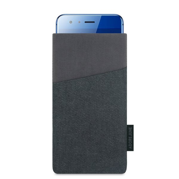 The picture shows the front of Clive Sleeve for Honor 9 in color Black / Grey; As an illustration, it also shows what the compatible device looks like in this bag