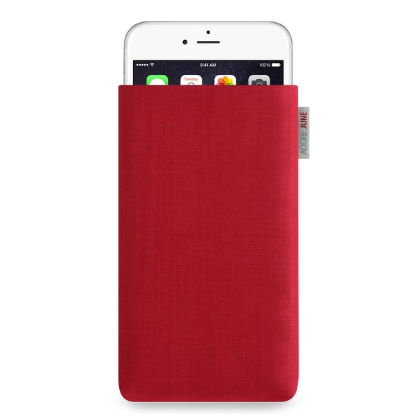 The picture shows the front of Classic Sleeve for iPhone 6 Plus 6S Plus and 7 Plus in color Red; As an illustration, it also shows what the compatible device looks like in this bag