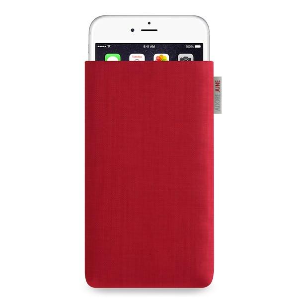 Das Bild zeigt die Vorderseite von Classic Tasche für iPhone 6 Plus 6S Plus und 7 Plus in Farbe Rot; Zur Veranschaulichung wird ebenfalls dargestellt, wie das kompatible Gerät in dieser Tasche aussieht