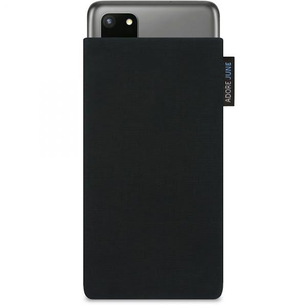 Das Bild zeigt die Vorderseite von Classic Tasche für Samsung Galaxy S20 Plus in Farbe Schwarz; Zur Veranschaulichung wird ebenfalls dargestellt, wie das kompatible Gerät in dieser Tasche aussieht