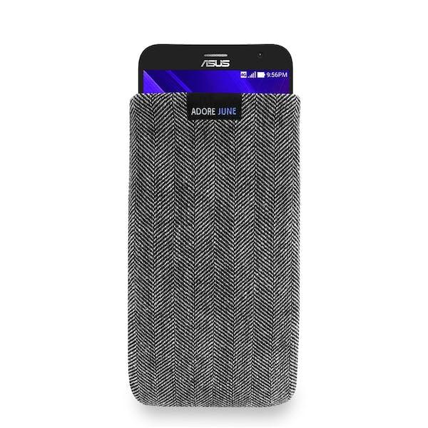 Das Bild zeigt die Vorderseite von Business Tasche für Asus ZenFone 2 in Farbe Grau / Schwarz; Zur Veranschaulichung wird ebenfalls dargestellt, wie das kompatible Gerät in dieser Tasche aussieht