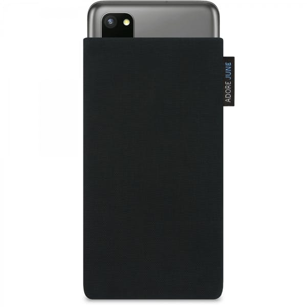 The picture shows the front of Classic Sleeve for Samsung Galaxy S20 in color Black; As an illustration, it also shows what the compatible device looks like in this bag