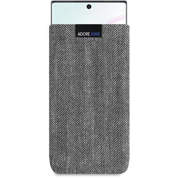 Das Bild zeigt die Vorderseite von Business Tasche für Samsung Galaxy Note 10+ in Farbe Grau / Schwarz; Zur Veranschaulichung wird ebenfalls dargestellt, wie das kompatible Gerät in dieser Tasche aussieht