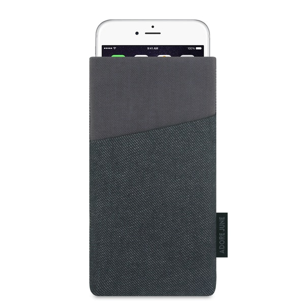 The picture shows the front of Clive Sleeve for Apple iPhone 6 6S and iPhone 7 in color Black / Grey; As an illustration, it also shows what the compatible device looks like in this bag