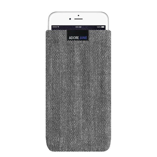 Das Bild zeigt die Vorderseite von Business Tasche für iPhone 6 Plus 6S Plus und 7 Plus in Farbe Grau / Schwarz; Zur Veranschaulichung wird ebenfalls dargestellt, wie das kompatible Gerät in dieser Tasche aussieht