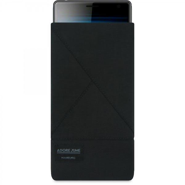 Das Bild zeigt die Vorderseite von Triangle Tasche für Sony Xperia 10 Plus und Xperia 1 in Farbe Schwarz; Zur Veranschaulichung wird ebenfalls dargestellt, wie das kompatible Gerät in dieser Tasche aussieht