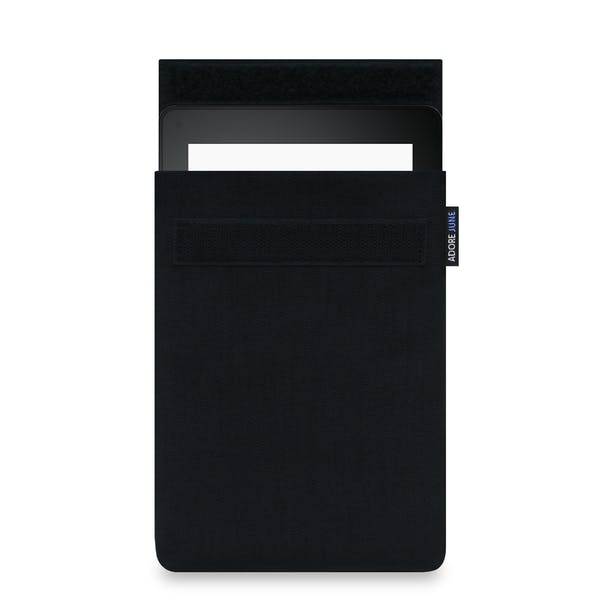 The picture shows the front of Classic Sleeve for Kindle Voyage in color Black; As an illustration, it also shows what the compatible device looks like in this bag