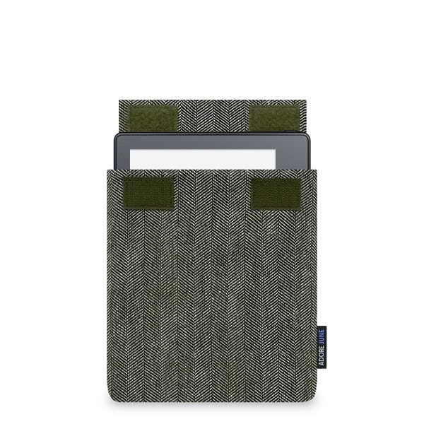 The picture shows the front of Business Sleeve for Kindle Oasis 2016 in color Grey / Black; As an illustration, it also shows what the compatible device looks like in this bag