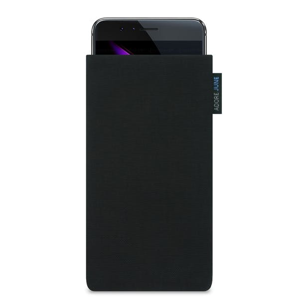 Das Bild zeigt die Vorderseite von Classic Tasche für Honor 8 Pro in Farbe Schwarz; Zur Veranschaulichung wird ebenfalls dargestellt, wie das kompatible Gerät in dieser Tasche aussieht