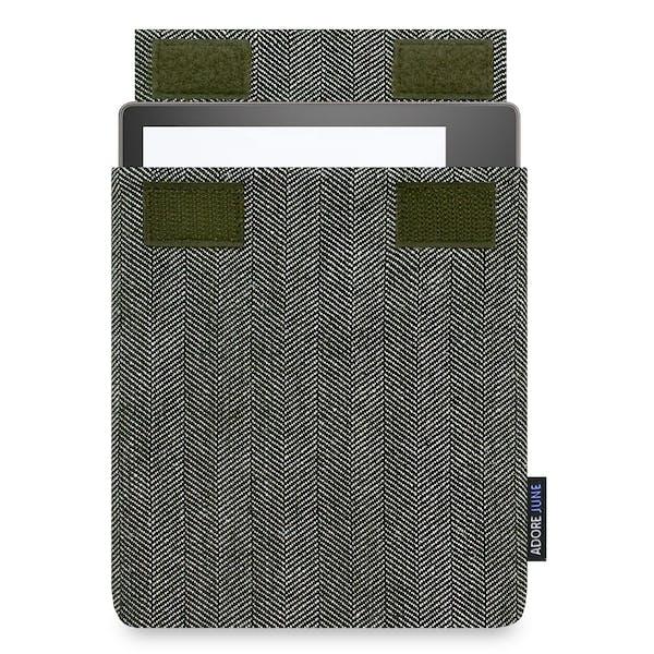 Das Bild zeigt die Vorderseite von Business Hülle für Kindle Oasis in Farbe Grau / Schwarz; Zur Veranschaulichung wird ebenfalls dargestellt, wie das kompatible Gerät in dieser Tasche aussieht