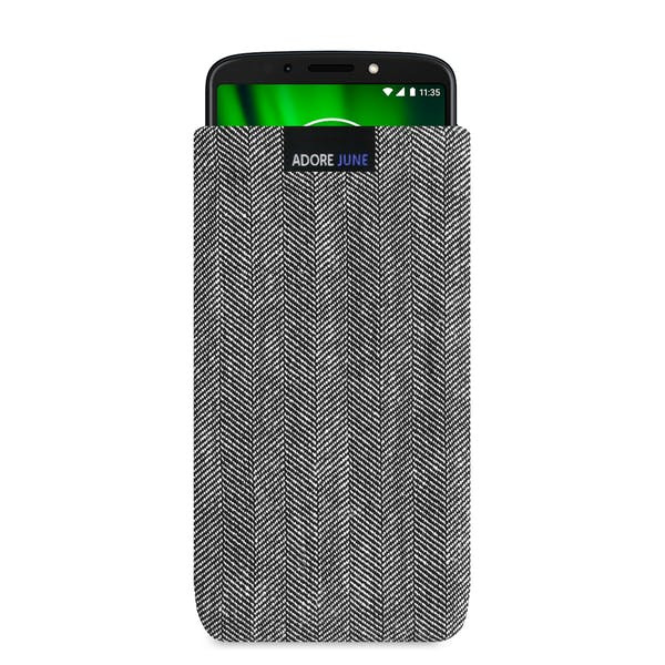 The picture shows the front of Business Sleeve for Motorola Moto G6 Play in color Grey / Black; As an illustration, it also shows what the compatible device looks like in this bag