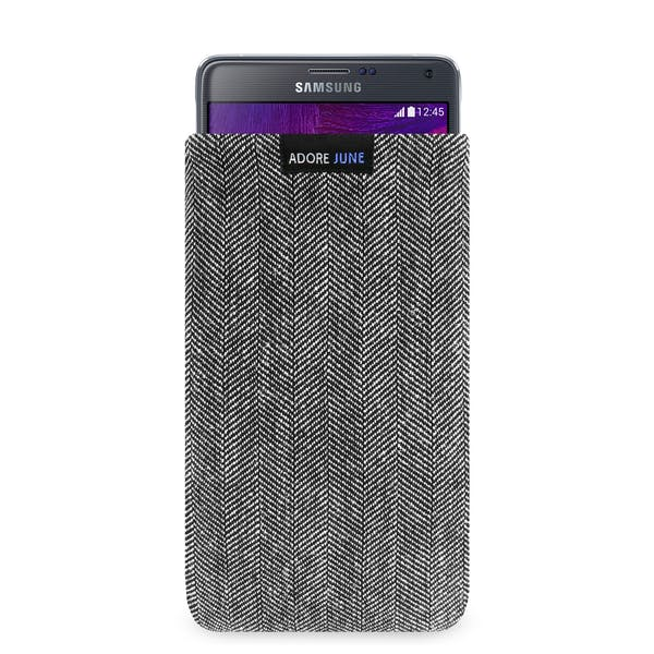The picture shows the front of Business Sleeve for Samsung Galaxy Note 4 in color Grey / Black; As an illustration, it also shows what the compatible device looks like in this bag
