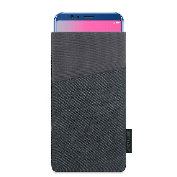 Das Bild zeigt die Vorderseite von Clive Tasche für Honor View 10 und Honor View 20 in Farbe Schwarz / Grau; Zur Veranschaulichung wird ebenfalls dargestellt, wie das kompatible Gerät in dieser Tasche aussieht