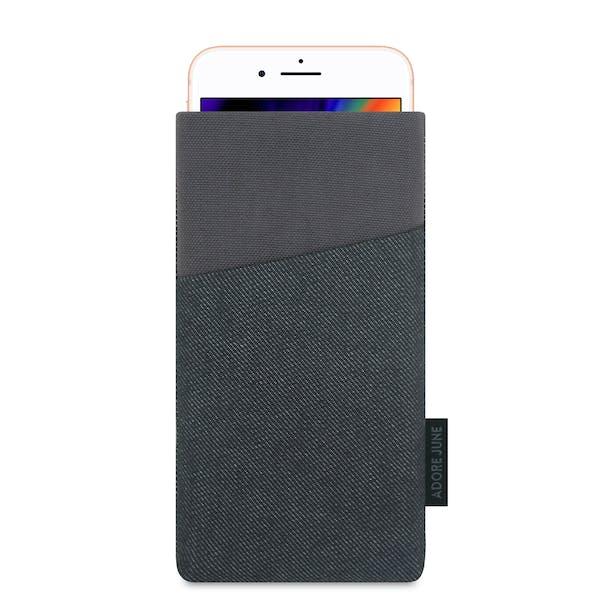 Das Bild zeigt die Vorderseite von Clive Tasche für Apple iPhone 8 in Farbe Schwarz / Grau; Zur Veranschaulichung wird ebenfalls dargestellt, wie das kompatible Gerät in dieser Tasche aussieht
