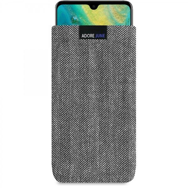 Das Bild zeigt die Vorderseite von Business Tasche für Huawei Mate 20 in Farbe Grau / Schwarz; Zur Veranschaulichung wird ebenfalls dargestellt, wie das kompatible Gerät in dieser Tasche aussieht