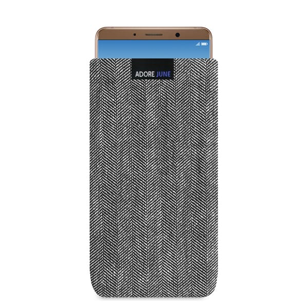 The picture shows the front of Business Sleeve for Huawei Mate 10 Pro in color Grey / Black; As an illustration, it also shows what the compatible device looks like in this bag
