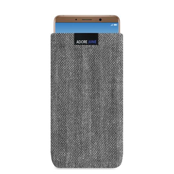 Das Bild zeigt die Vorderseite von Business Tasche für Huawei Mate 10 Pro in Farbe Grau / Schwarz; Zur Veranschaulichung wird ebenfalls dargestellt, wie das kompatible Gerät in dieser Tasche aussieht