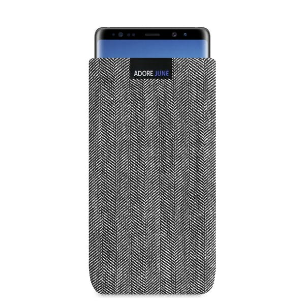 The picture shows the front of Business Sleeve for Samsung Galaxy Note 8 in color Grey / Black; As an illustration, it also shows what the compatible device looks like in this bag