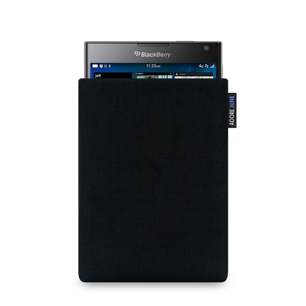 The picture shows the front of Classic Sleeve for BlackBerry Passport in color Black; As an illustration, it also shows what the compatible device looks like in this bag