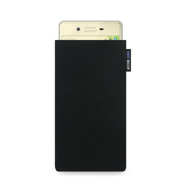 Das Bild zeigt die Vorderseite von Classic Tasche für Sony Xperia X in Farbe Schwarz; Zur Veranschaulichung wird ebenfalls dargestellt, wie das kompatible Gerät in dieser Tasche aussieht