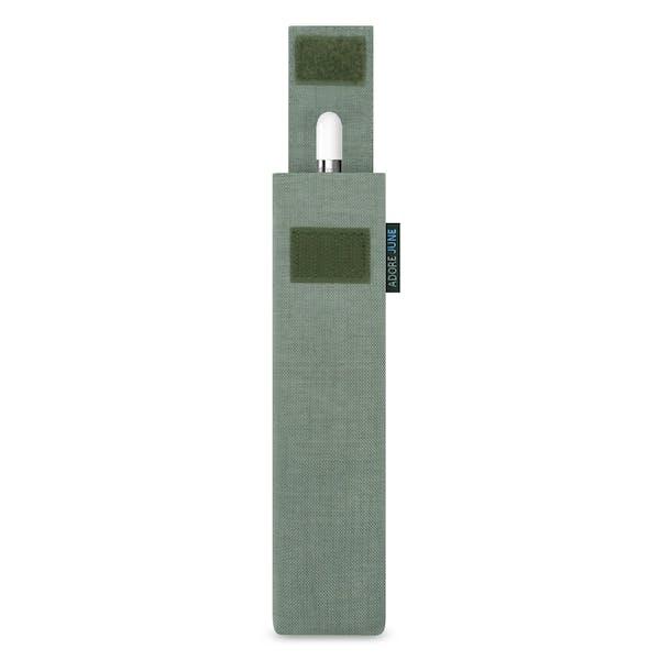 Das Bild zeigt die Vorderseite von Classic Hülle für Apple Pencil in Farbe Grau; Zur Veranschaulichung wird ebenfalls dargestellt, wie das kompatible Gerät in dieser Tasche aussieht