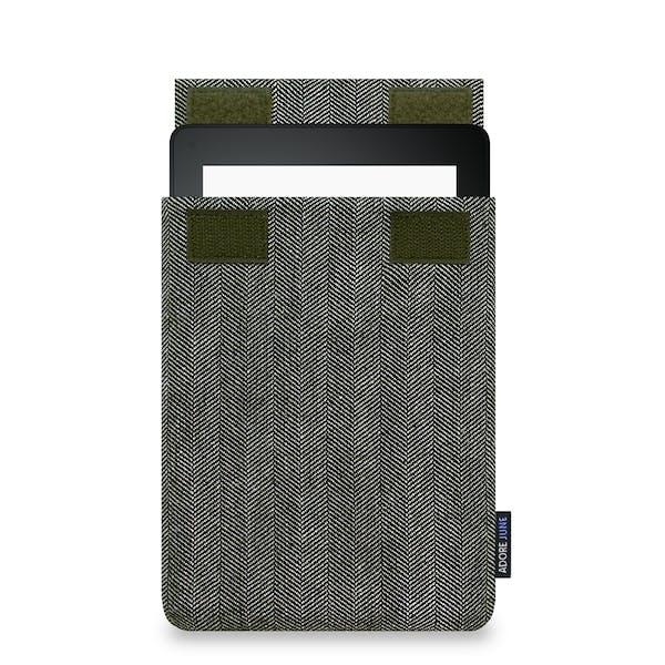 Das Bild zeigt die Vorderseite von Business Hülle für Kindle Voyage in Farbe Grau / Schwarz; Zur Veranschaulichung wird ebenfalls dargestellt, wie das kompatible Gerät in dieser Tasche aussieht