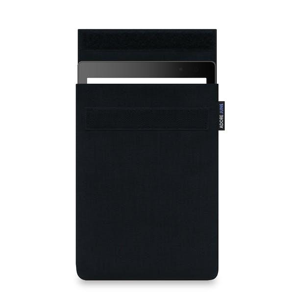 Das Bild zeigt die Vorderseite von Classic Hülle für Kobo Aura One in Farbe Schwarz; Zur Veranschaulichung wird ebenfalls dargestellt, wie das kompatible Gerät in dieser Tasche aussieht