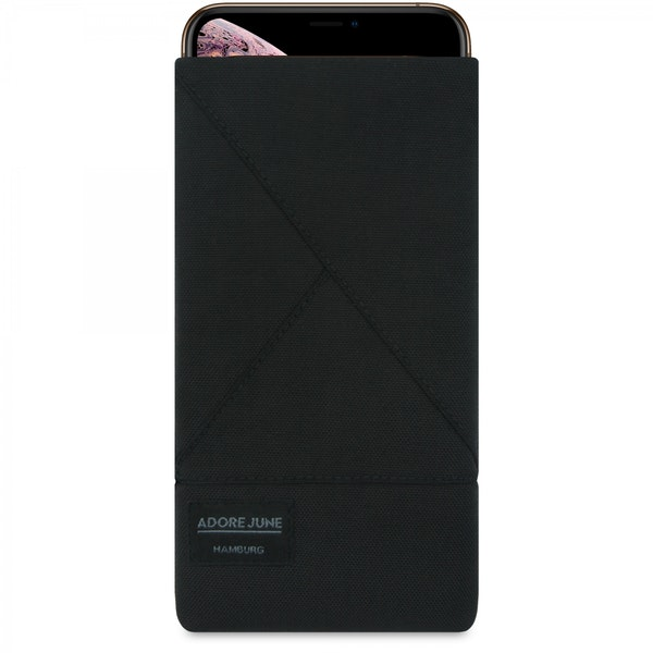The picture shows the front of Triangle Sleeve for Apple iPhone Xs Max in color Black; As an illustration, it also shows what the compatible device looks like in this bag