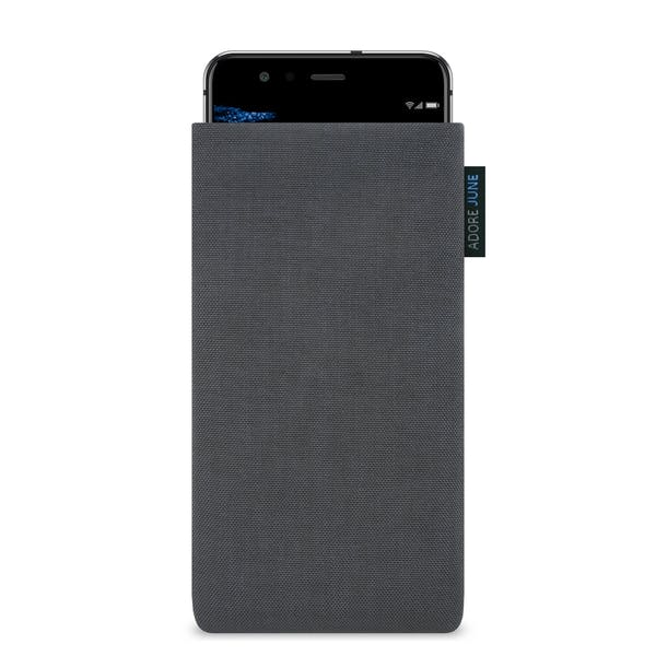 The picture shows the front of Classic Sleeve for Huawei P10 Lite in color Dark Grey; As an illustration, it also shows what the compatible device looks like in this bag