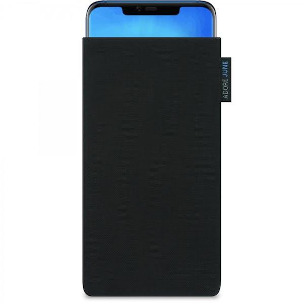 Das Bild zeigt die Vorderseite von Classic Tasche für Huawei Mate 20 Pro in Farbe Schwarz; Zur Veranschaulichung wird ebenfalls dargestellt, wie das kompatible Gerät in dieser Tasche aussieht