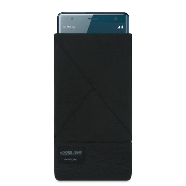 The picture shows the front of Triangle Sleeve for Sony Xperia XZ2 in color Black; As an illustration, it also shows what the compatible device looks like in this bag