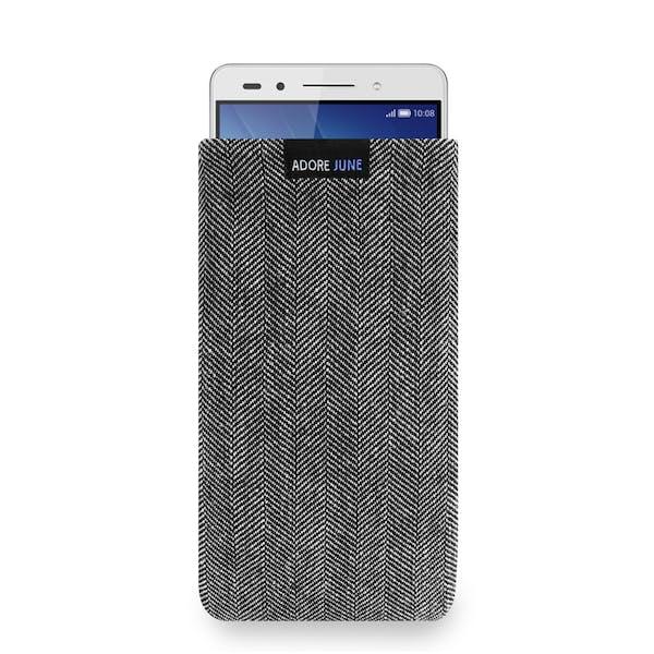 Das Bild zeigt die Vorderseite von Business Tasche für Honor 7 in Farbe Grau / Schwarz; Zur Veranschaulichung wird ebenfalls dargestellt, wie das kompatible Gerät in dieser Tasche aussieht
