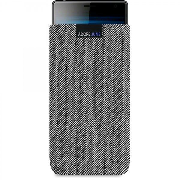 Das Bild zeigt die Vorderseite von Business Tasche für Sony Xperia 10 Plus und Xperia 1 in Farbe Grau / Schwarz; Zur Veranschaulichung wird ebenfalls dargestellt, wie das kompatible Gerät in dieser Tasche aussieht