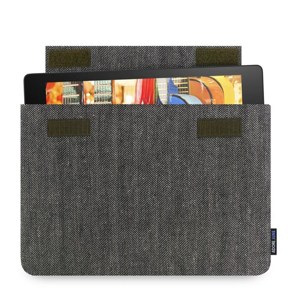 The picture shows the front of Business Sleeve for Lenovo Yoga Tab 3 10 in color Grey / Black; As an illustration, it also shows what the compatible device looks like in this bag