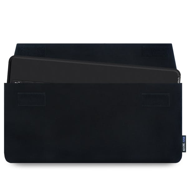 The picture shows the front of Keeb Sleeve for Logitech Keys-To-Go Keyboard in color Black; As an illustration, it also shows what the compatible device looks like in this bag